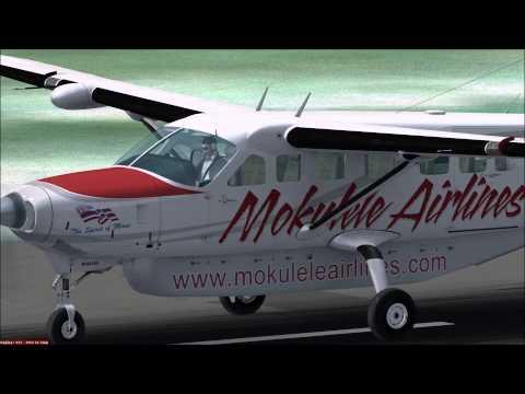 FSX - Mokulele On Final To Kalaupapa Airport (PHLU) - Carenado C208B Grand Caravan HD