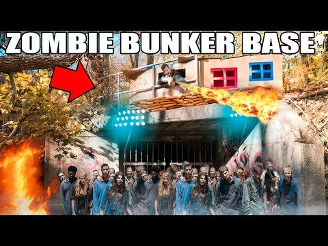 BOX FORT ZOMBIE BUNKER BASE IN THE WOODS!! ???????? 24 Hour Challenge