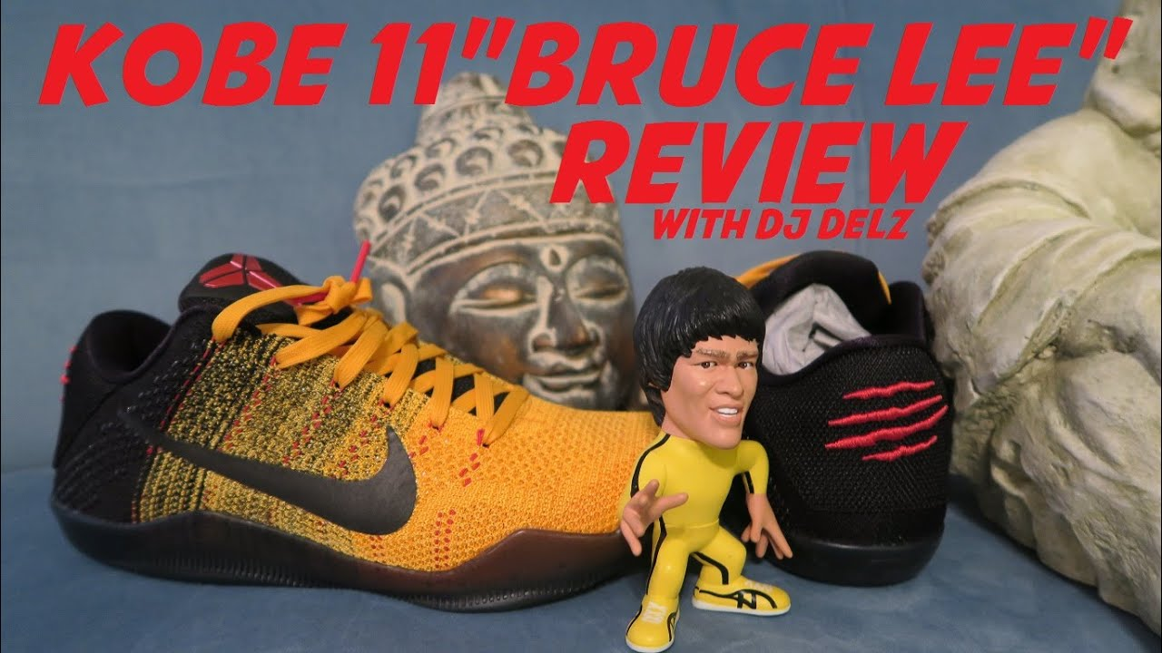 57a362ed0933 Nike Kobe 11 Bruce Lee XI Shoe Detailed Review + On Foot Look With Dj Delz  ...