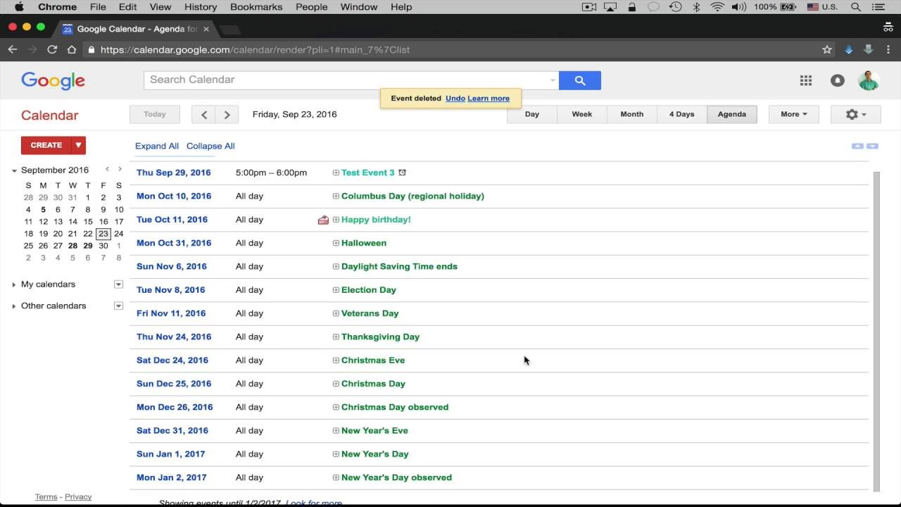 google calendar delete multiple events at once youtube
