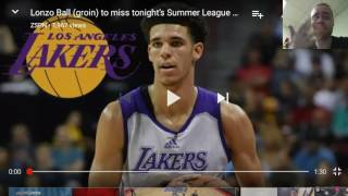 Lonzo Ball (Groin) Injury caused him to miss Summer League game Vs Sacramento Kings De'Aaron Fox