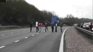 Playing football on the M4 motorway