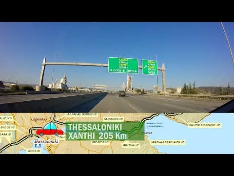 Greek cheap car rentals road paths.Thessaloniki-Xanthi Egnatia motorway.Maps,Toll costs & exits.