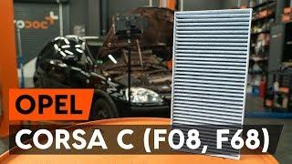 Montaggio Filtro aria abitacolo OPEL CORSA C (F08, F68): video gratuito