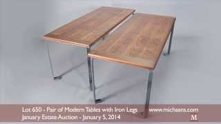 Pair Of Modern Tables With Iron Legs