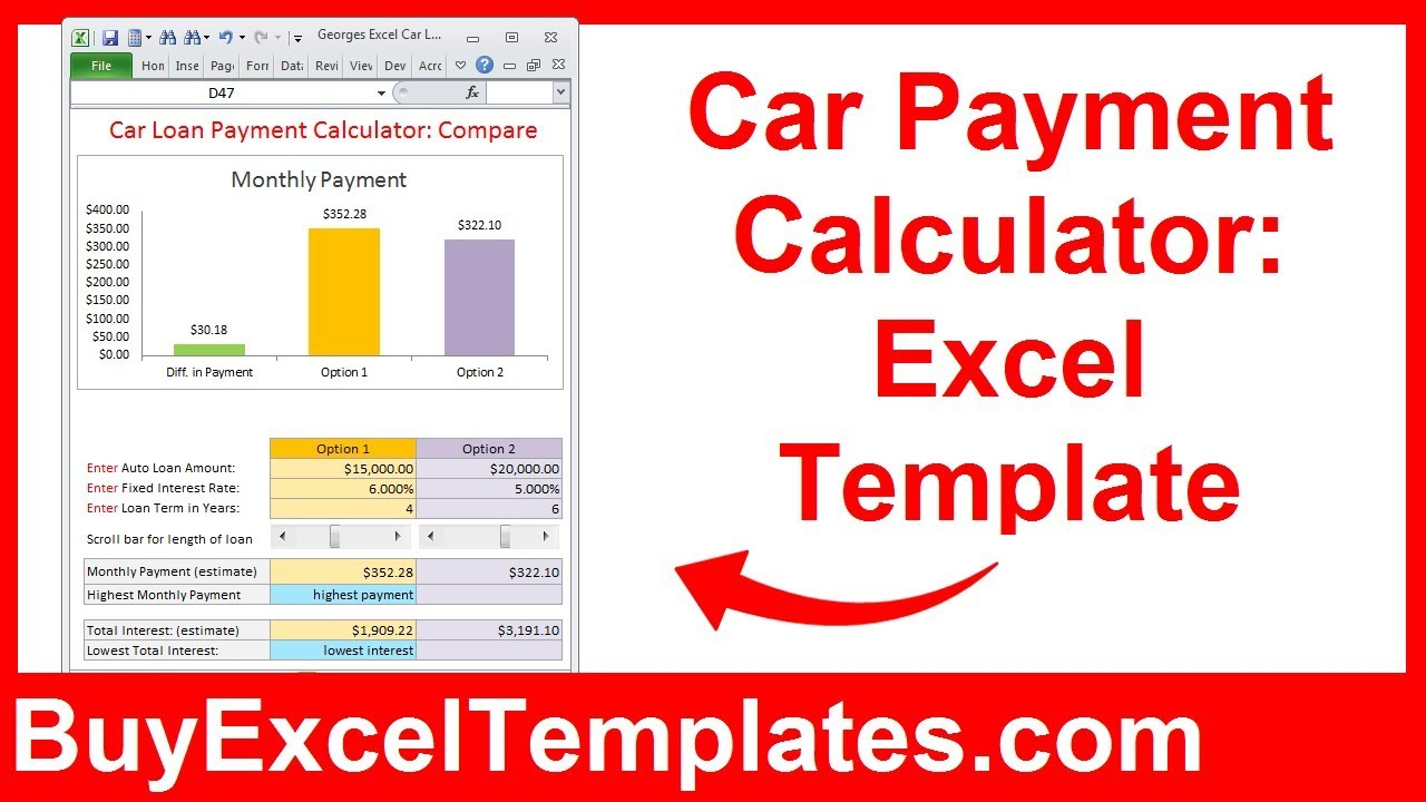 Monthly Payment Calculator >> Car Payment Calculator Calculate Monthly Auto Loan Payment Interest Excel Template Spreadsheet