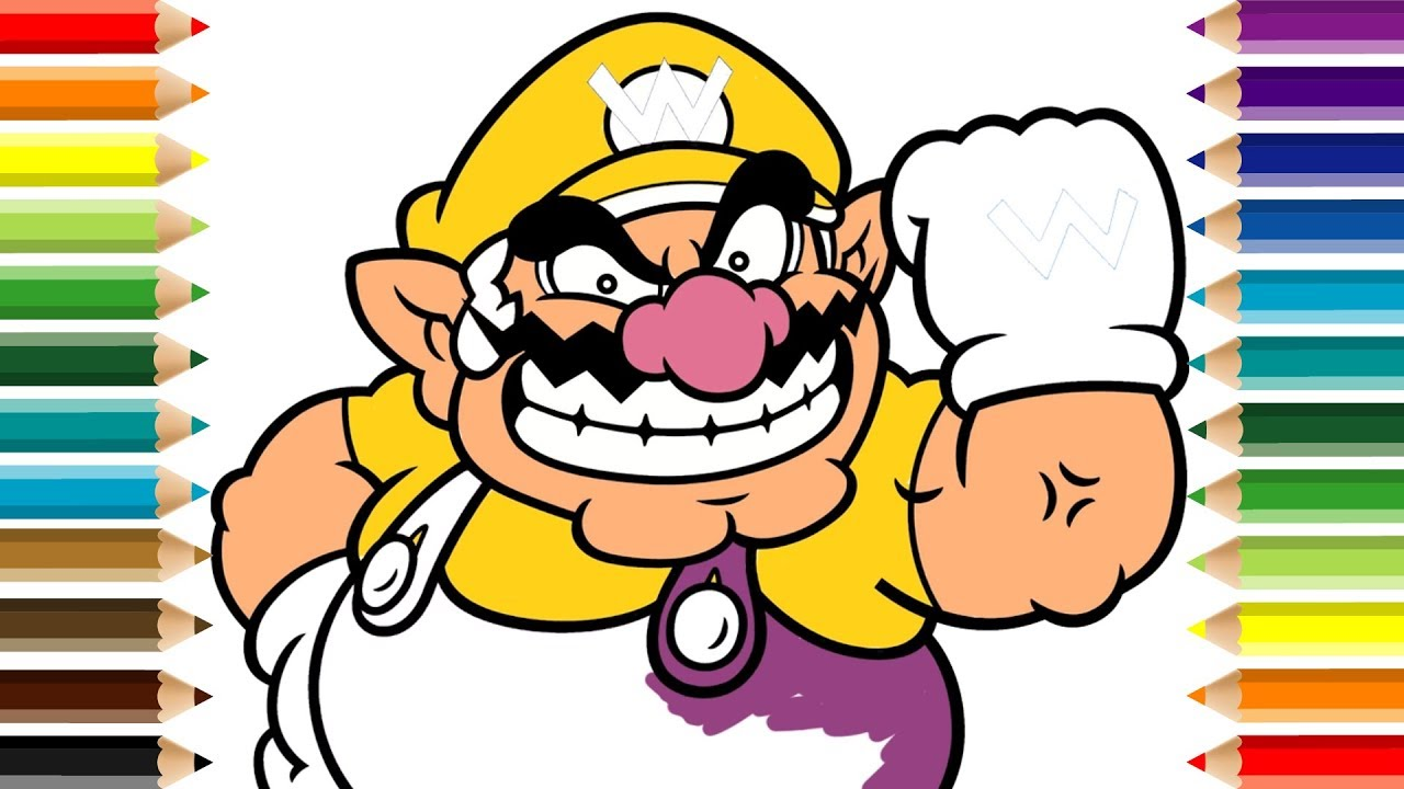 wario coloring pages Wario Super Mario Bros Coloring Page For Kids   YouTube wario coloring pages