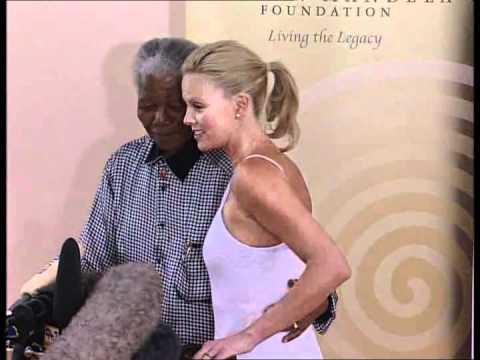 Nelson Mandela meets Charlize Theron