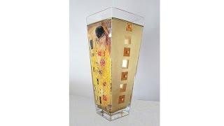 Decoupage on glass tutorial  - DIY. Gilding technique. Decoration of vase by golden foiles.