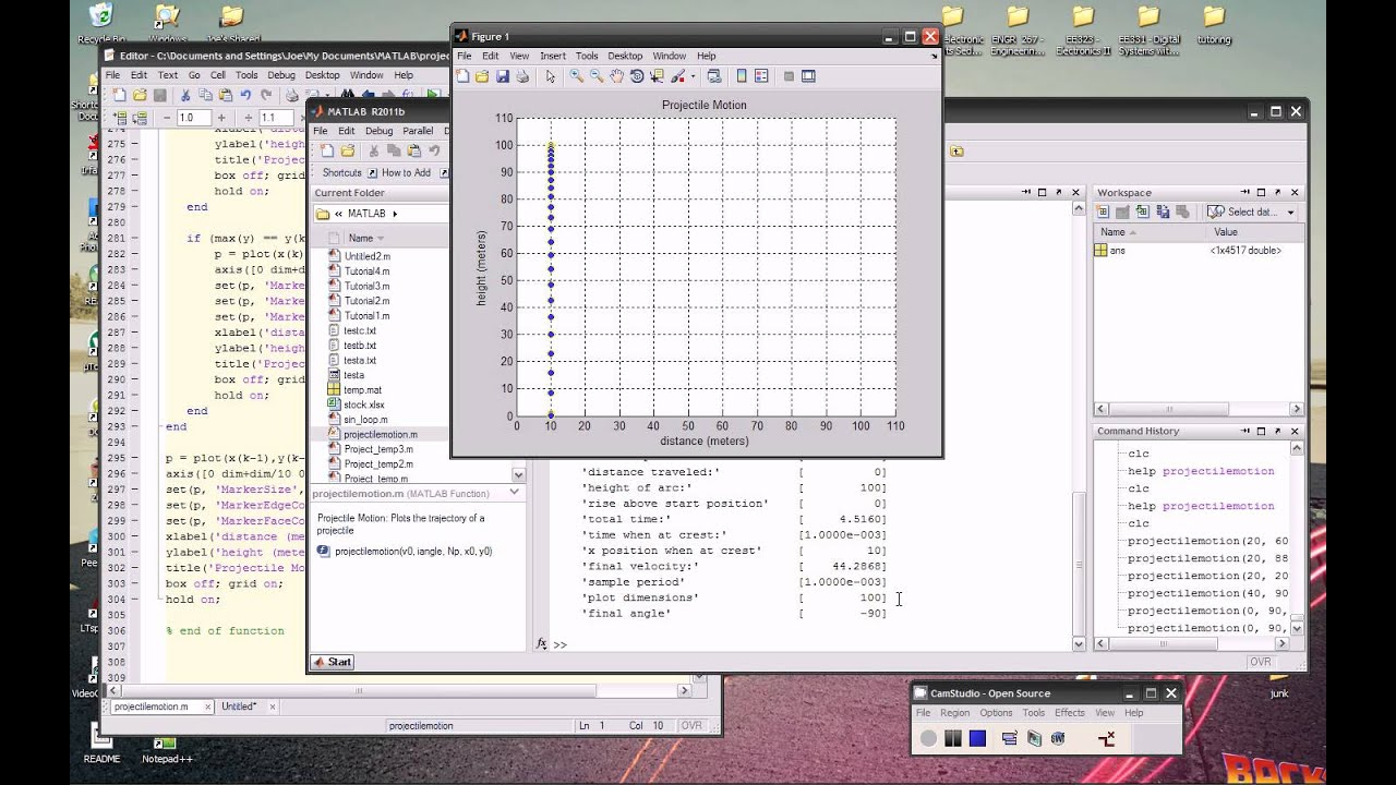 Projectile Motion Function in MATLAB