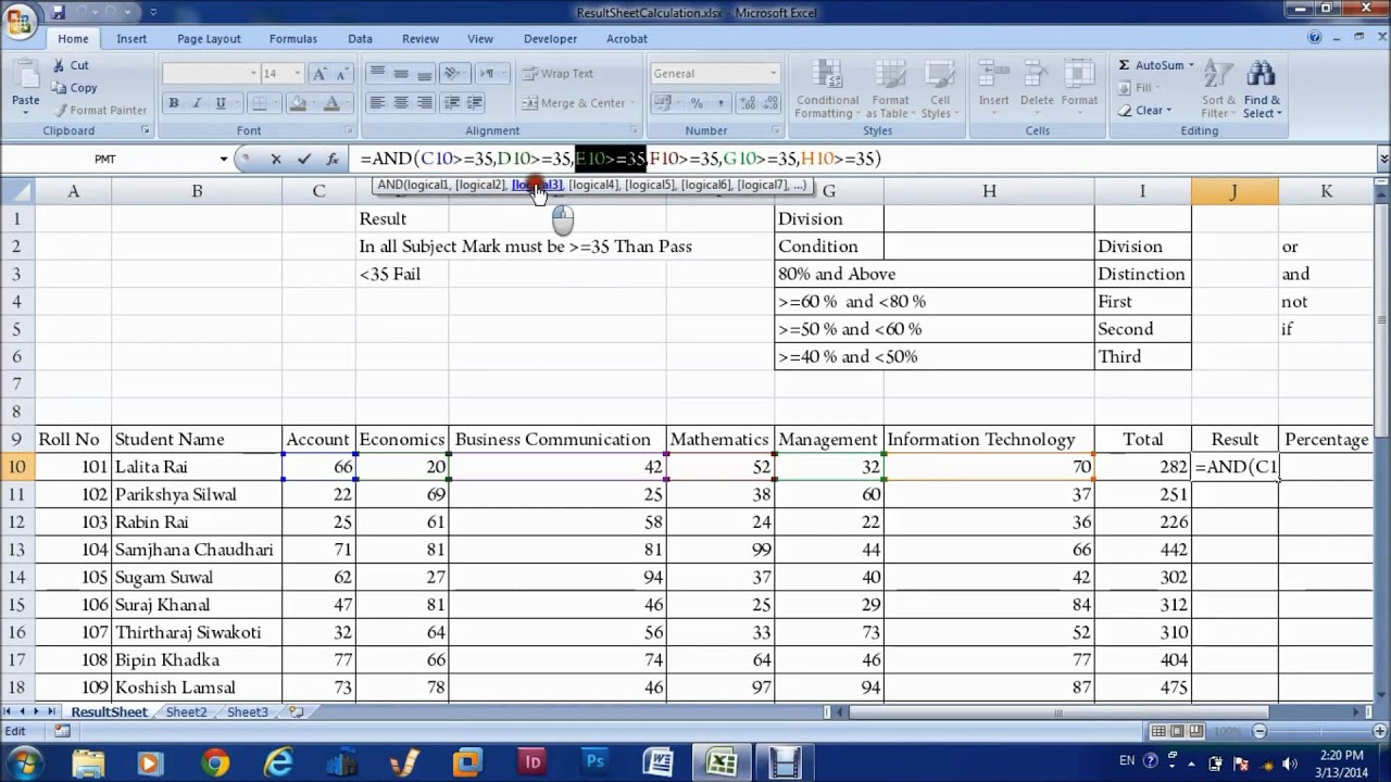 MS Excel Chapter 4 In Nepali - Result Sheet with If And Function ...