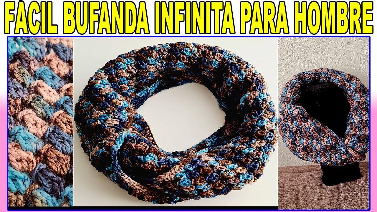 Bufanda infinita a crochet para Hombre | Cuello infinito tejido a ganchillo | Bufanda facil y rapido