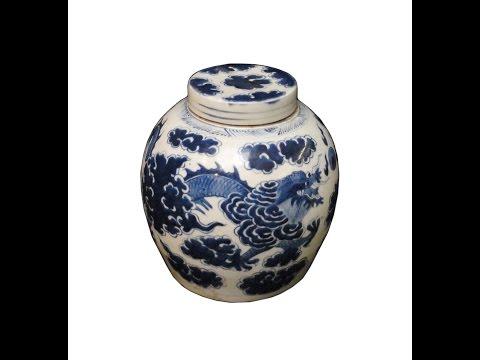 Chinese Vintage Blue & White Porcelain Ginger Jar cs1005