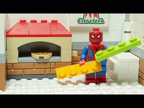Lego Spiderman Brick Building Pizza Restaurant Superhero Animation