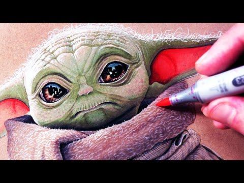 Let's Draw BABY YODA - THE MANDALORIAN - FAN ART - YouTube