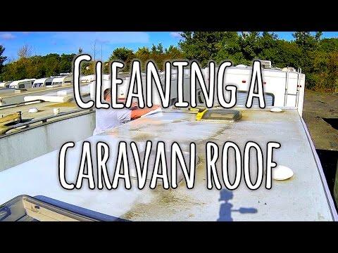 Cleaning a caravan roof