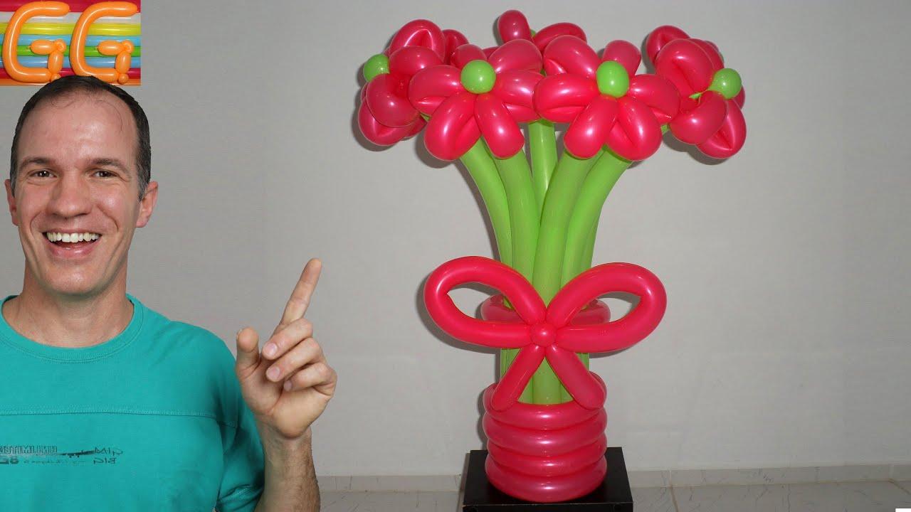 Como hacer un ramo de flores con globos globoflexia - Hacer munecos con globos ...