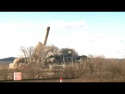 WISCONSIN POWER PLANT IMPLOSION CUT DOWN TO IMPLOSION 1088995