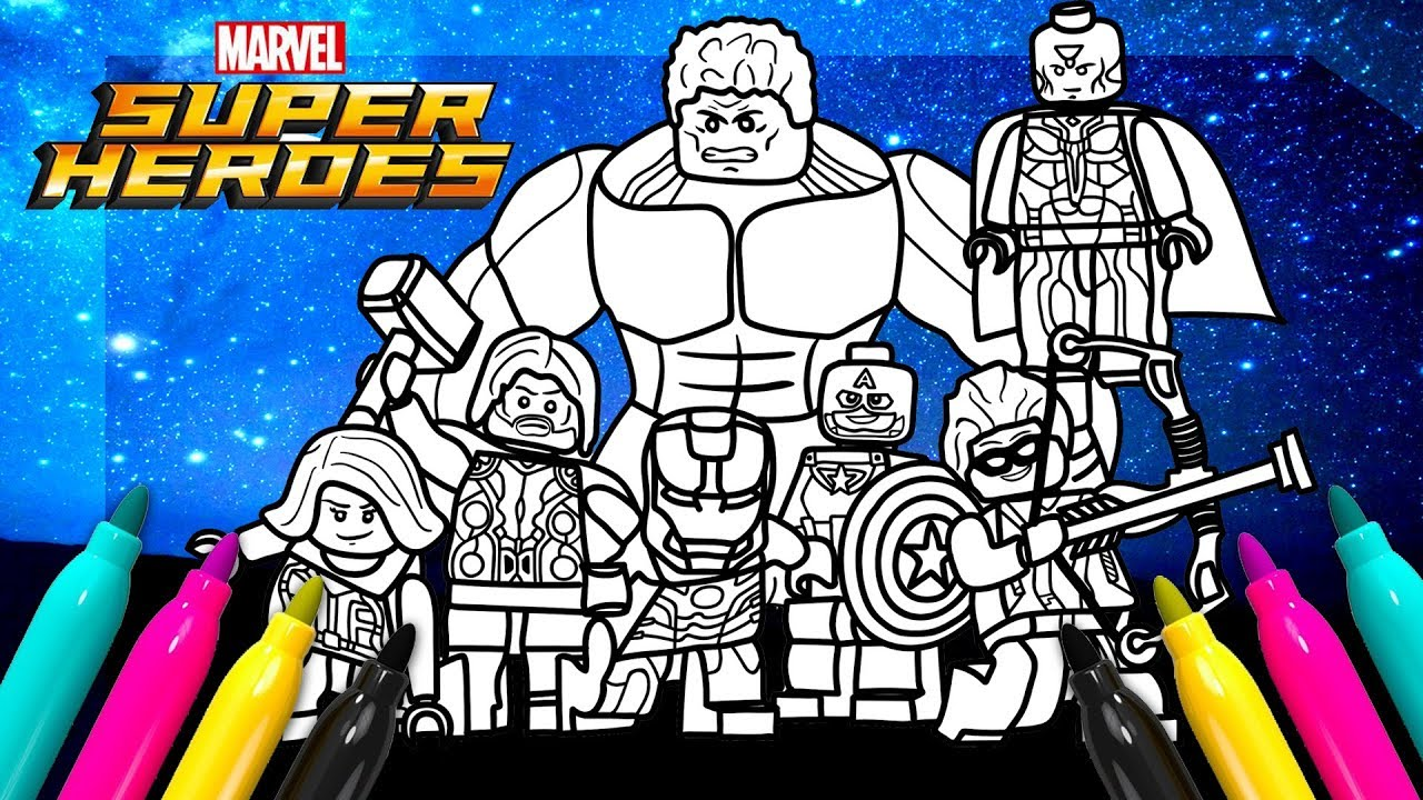 Superheroes Avengers Coloring Book | LEGO coloring for kids - YouTube