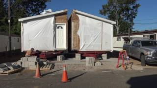 Friday September 16 Set Crew puts two parts of a Manufactured Homes together for a spectacular 3 bed