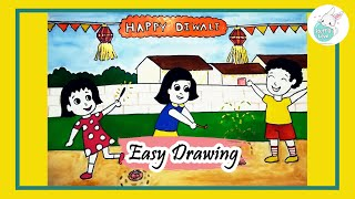 How to draw kids celebrating Diwali festival easy drawing for kids