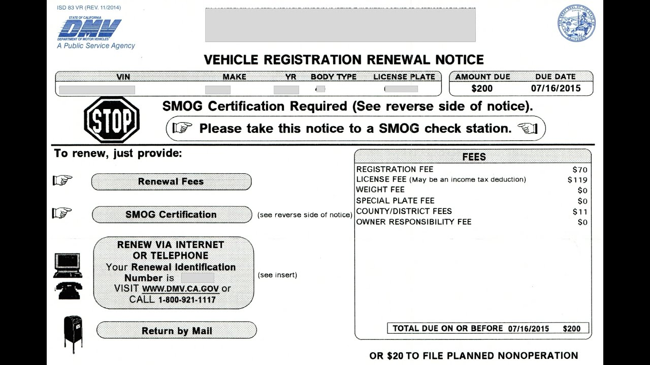 Vehicle registration renewal notice youtube for Ca gov motor vehicles