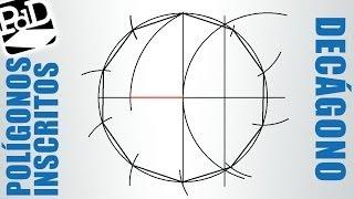 Decágono inscrito en una circunferencia (polígonos regulares circunscritos).