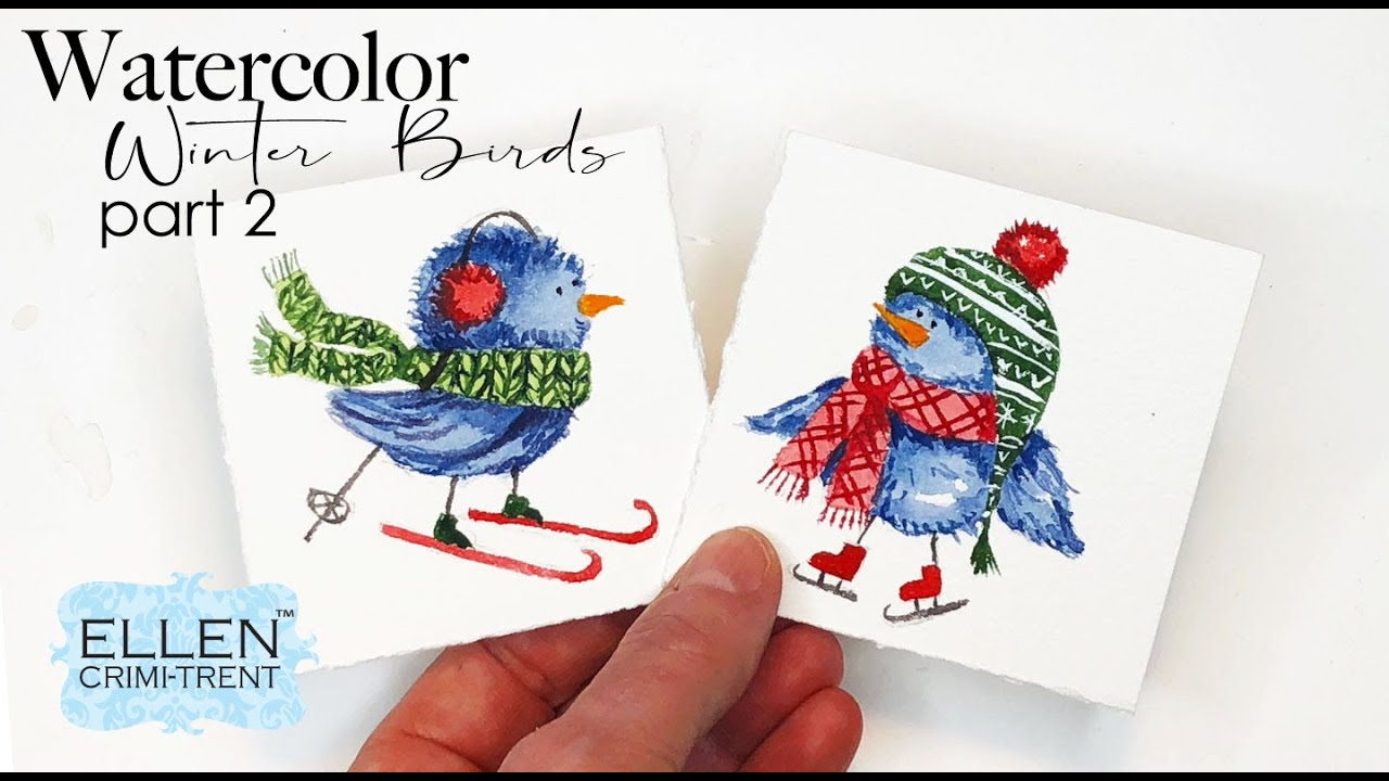 Watercolor Winter Birds Tutorial