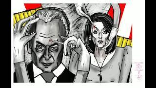 Chuck Schumer. Nancy Pelosi. Politische Karikatur FÜR Donald Trump