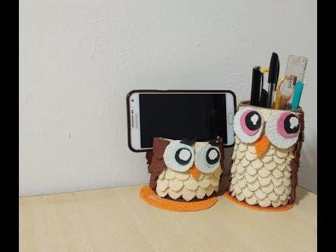Easy diy owl pencil holder and mobile holder