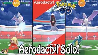 Pokémon GO | Aerodactyl Raid Boss SOLO! (Level 3) | No Weather Boost | Gym Raids Ep. 32