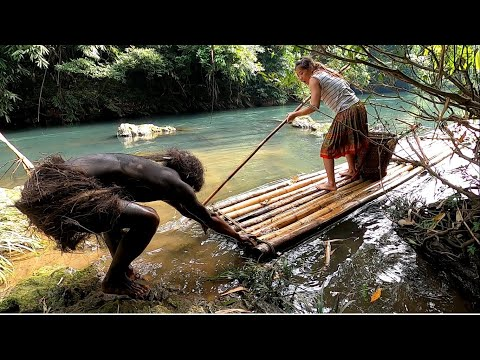 Primitive life - Survival skills. Jungle people find food and shelter and meet girls