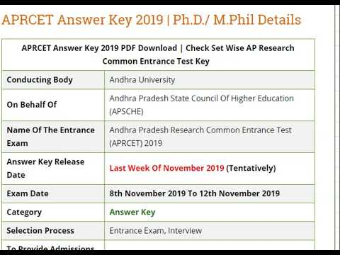 APRCET Answer Key 2019