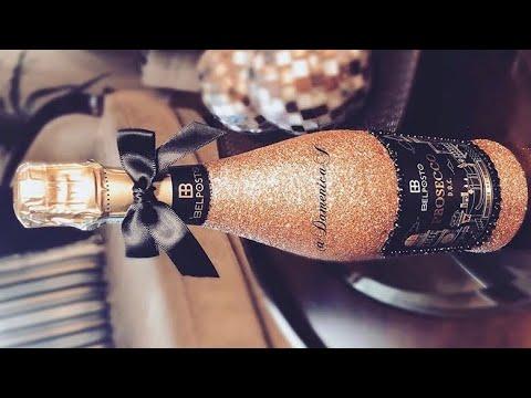 Glitter & Rhinestone Wine Bottle