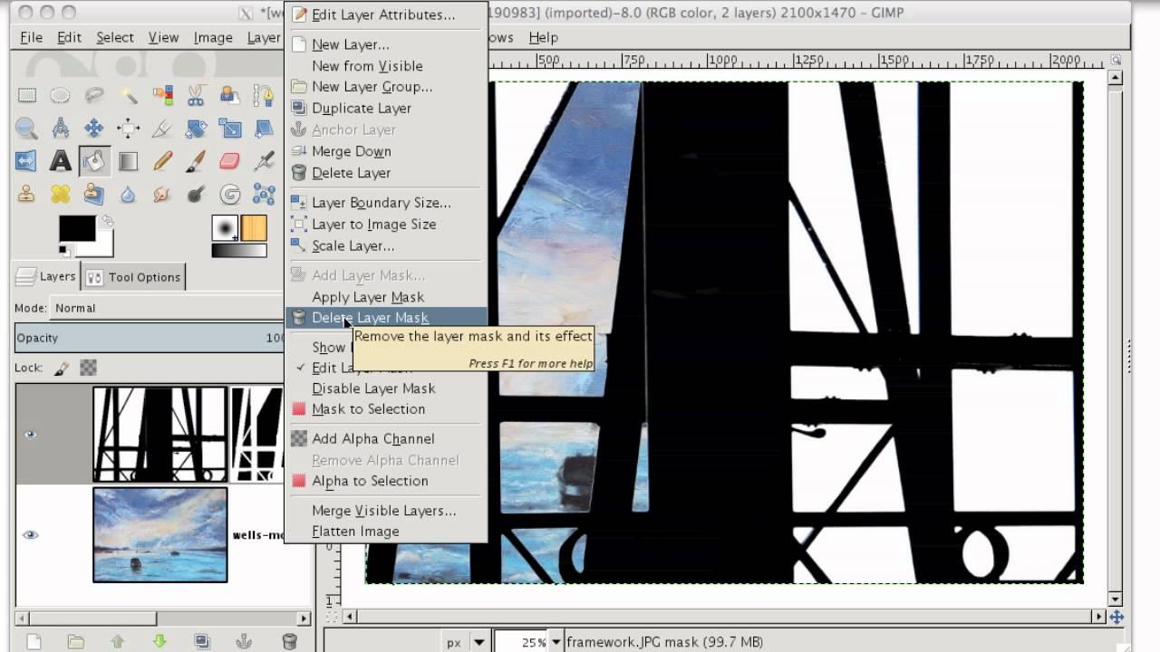 Gimp delete background colour