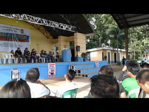 Congressman Arnie Teves gives speech during the launching of classroom Rehab in Bayawan City
