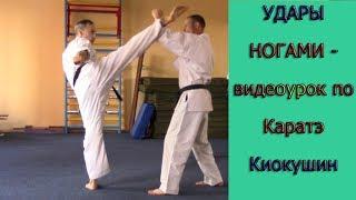 УРОКИ КАРАТЭ КИОКУШИНКАЙ - урок № 2  Техника ударов ногами ( Kyokushin Karate - Kicks in karate )