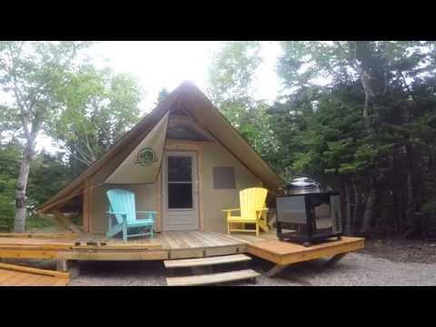Parks Canada oTENTik tour in cape Breton island highlands , Nova Scotia