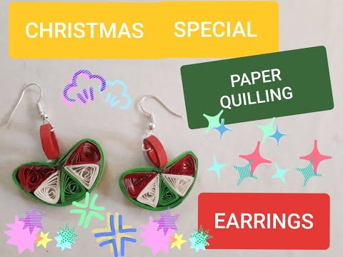 CHRISTMAS SPECIAL EARRINGS/ COLOURFUL EARRINGS/ HOW TO MAKE EASY DIY PAPER QUILLING EARRINGS