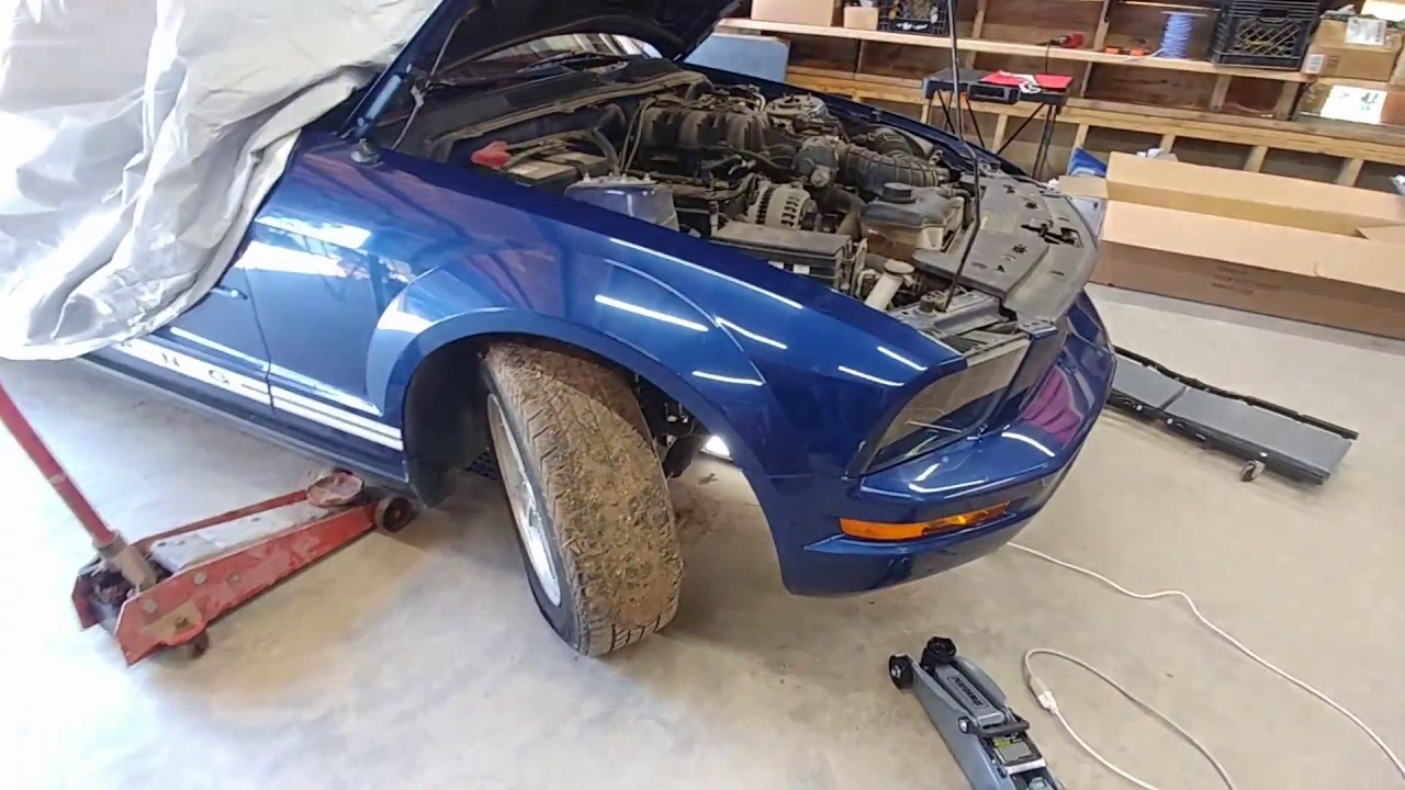 How to lift support a mustang using jack stands