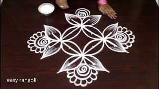 simple daily routine kolam with 4 dots - easy rangoli - muggulu in step by step method
