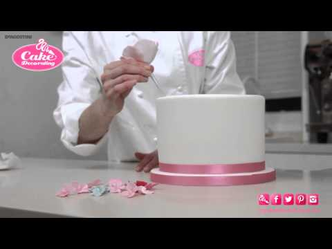 how-to-stick-flowers/ribbon-onto-a-cake---cake-decorating-tutorial