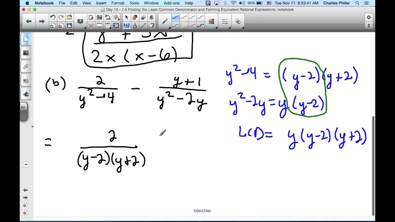 7.5 Adding and Subtracting Rational Expressions with Unlike Denominators 4  of 6 - YouTube