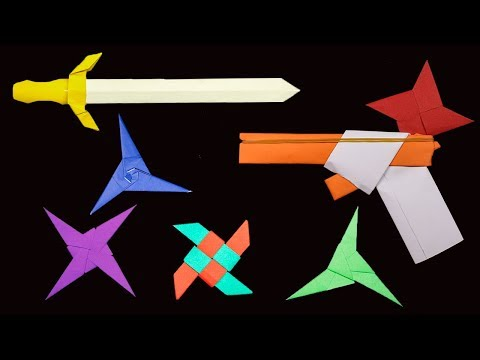 Top 06 Easy Origami Ninja Star/sword/gun - How to make