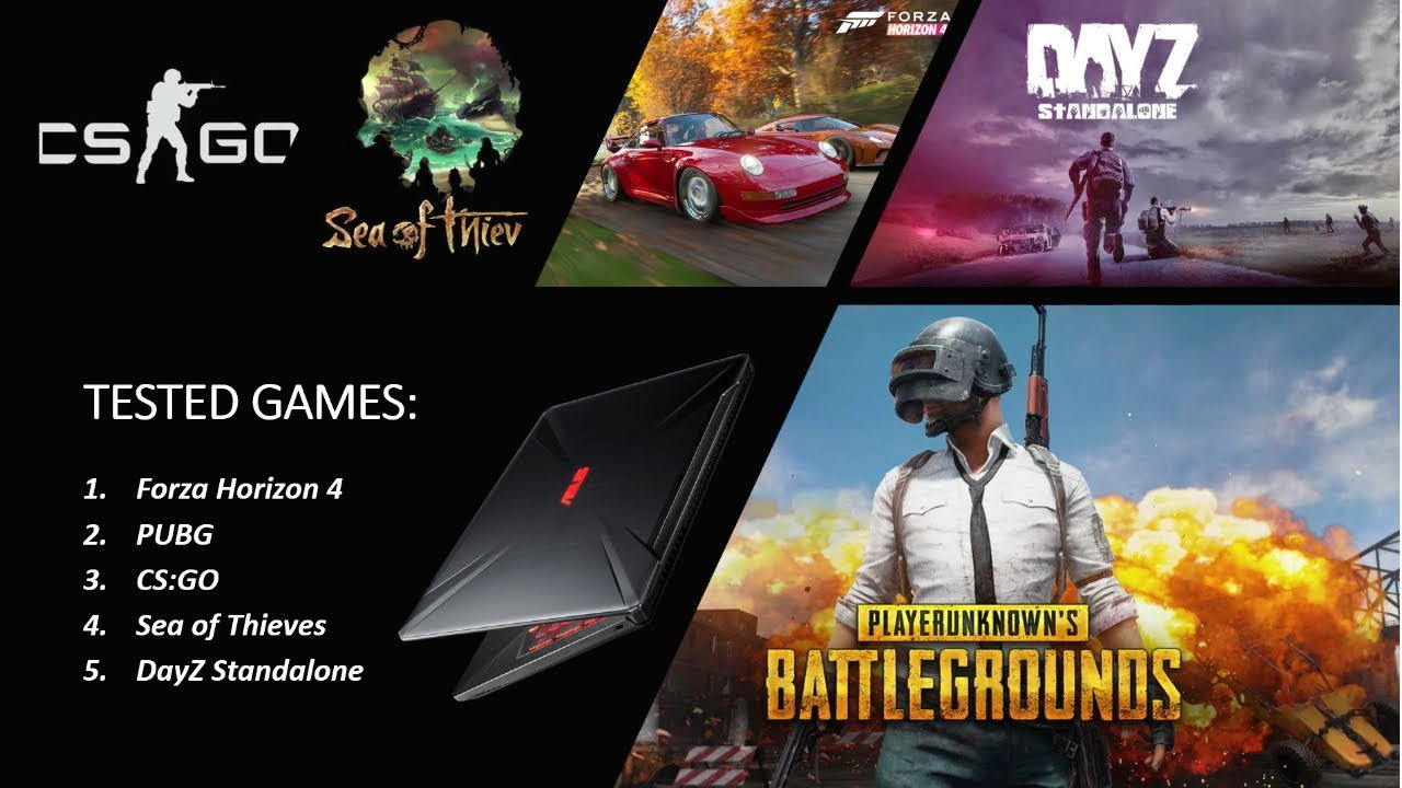 Asus TUF FX504GD Laptop \ FPS TEST: Forza Horizon 4 \ PUBG \ CSGO \ Sie of  Thieves \ DayZ