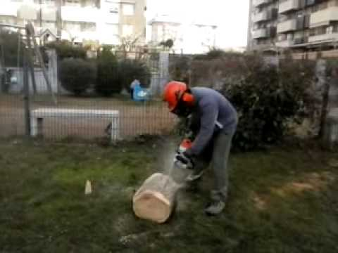 Fabricaci n macetero de tronco con motosierra youtube for Jardineras para arboles grandes