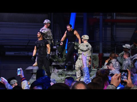 The Shield arrive in a tank: Tribute to the Troops 2013