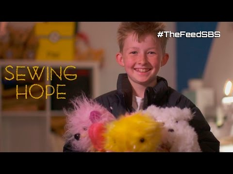 12 year old Campbell sewing teddy bears for sick kids