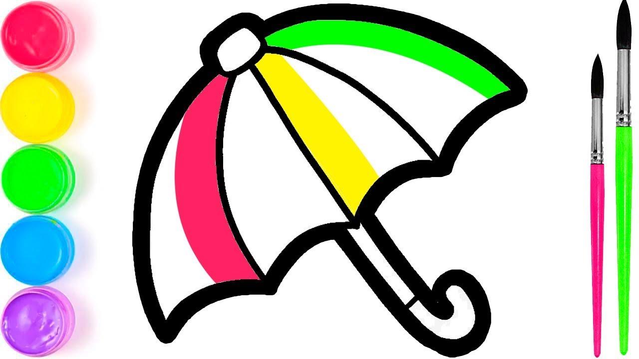 Pelajari Menggambar Dan Mewarnai Payung Pelangi Untuk Anak Anak