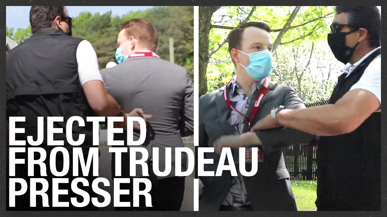 RCMP grabbed Rebel reporter just before Trudeau's presser — Dragged out by cops FULL VIDEO